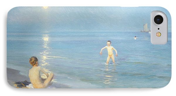 Boys On The Seashore In A Summer Night At Skagen 1899  IPhone Case by Peder Severin Kroyer