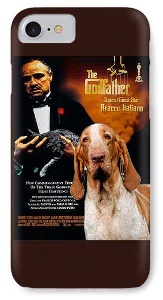 Bracco Italiano Art Canvas Print - The Godfather Movie Poster IPhone Case by Sandra Sij