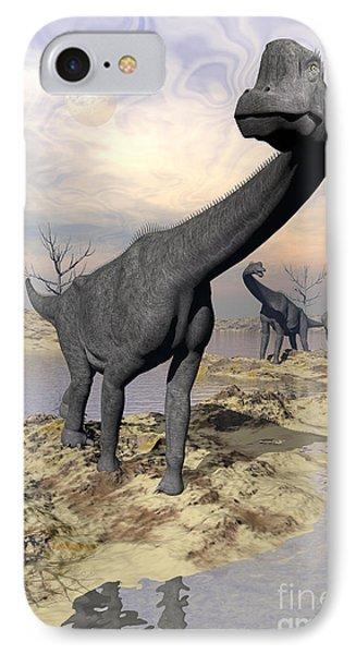 Brachiosaurus Dinosaurs Near Water Phone Case by Elena Duvernay