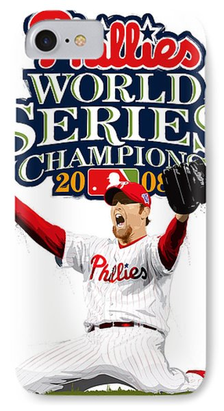 Brad Lidge Ws Champs Logo IPhone Case by Scott Weigner