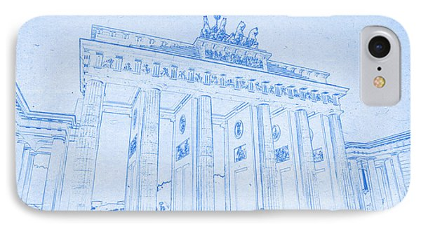 Brandenburg Gate In Berlin Germany - Blueprint Drawing IPhone Case by Ahmet Asar