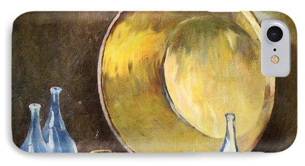 IPhone Case featuring the digital art Brass Kettle With Blue Bottles After Carlsen by Lianne Schneider