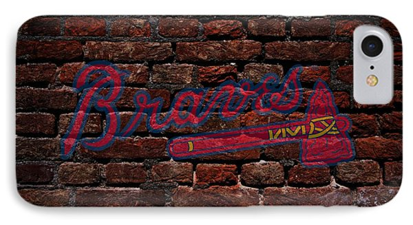 Braves Baseball Graffiti On Brick  IPhone Case by Movie Poster Prints