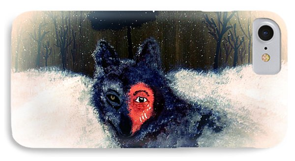 IPhone Case featuring the painting Bravewolf 2 by Ayasha Loya