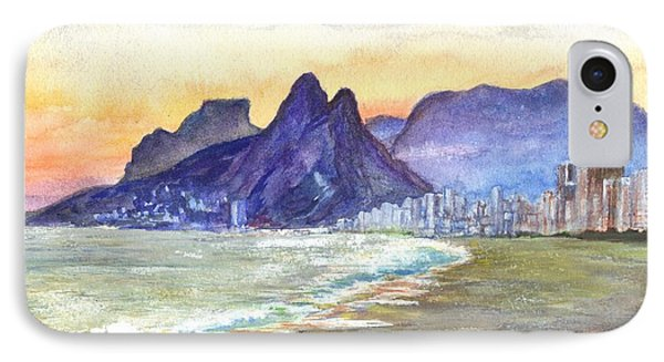Sugarloaf Mountain And Ipanema Beach At Sunset IPhone Case by Carol Wisniewski