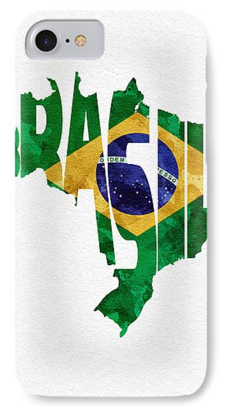 Brazil Typographic Map Flag IPhone Case by Ayse Deniz