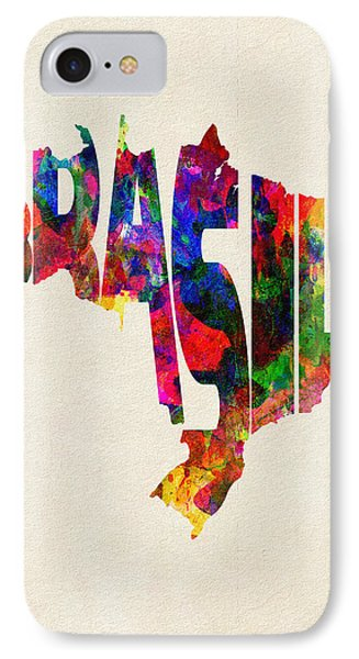 Brazil Typographic Watercolor Map IPhone Case by Ayse Deniz