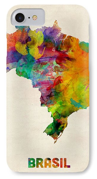 Brazil Watercolor Map Phone Case by Michael Tompsett