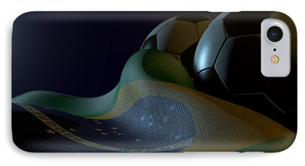 Brazilian Flag And Soccer Ball IPhone Case by Allan Swart