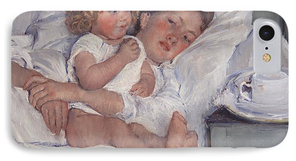 Breakfast In Bed IPhone Case by Mary Cassatt