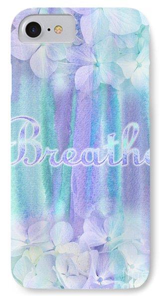 Breathe Refreshing Hydrangea Turquoise Purple Watercolor IPhone Case