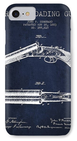 Breech Loading Gun Patent Drawing From 1883 - Navy Blue IPhone Case by Aged Pixel