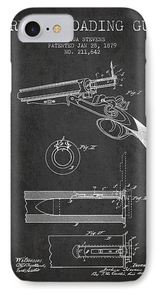 Breech Loading Shotgun Patent Drawing From 1879 - Dark IPhone Case by Aged Pixel
