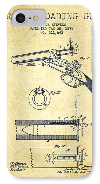 Breech Loading Shotgun Patent Drawing From 1879 - Vintage IPhone Case by Aged Pixel
