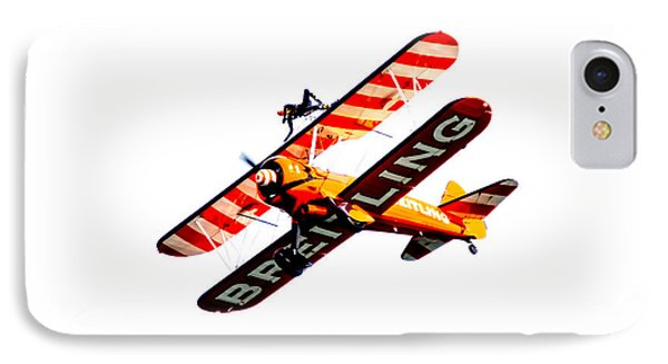 IPhone Case featuring the photograph Breitling Wingwalker High Contrast Sunderland Air Show 2014 by Scott Lyons
