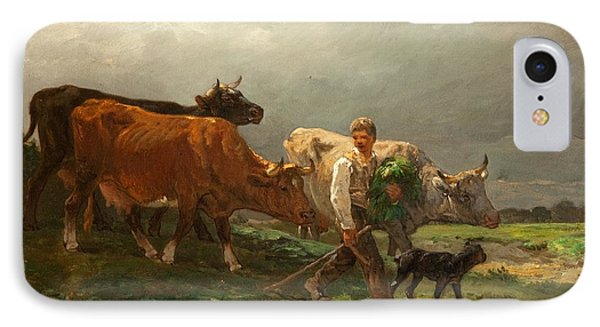Breton Lad With Cattle Phone Case by Julius Caesar Ibbetson