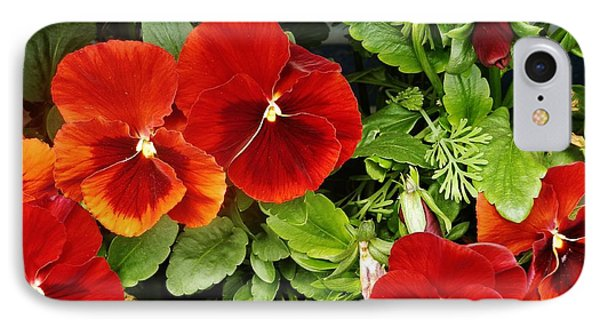 IPhone Case featuring the photograph Brick Pansies by VLee Watson