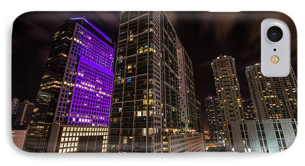 Brickell Ave Downtown Miami  IPhone Case by Michael Moriarty