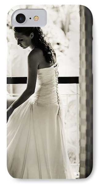 Bride At The Balcony II. Black And White Phone Case by Jenny Rainbow