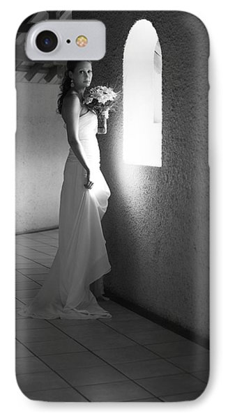 Bride At The Window I. Black And White Phone Case by Jenny Rainbow