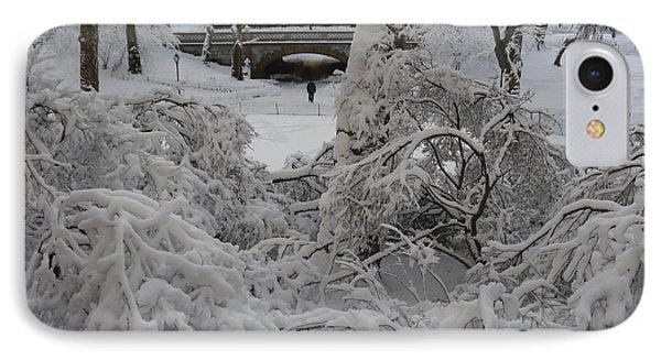 IPhone Case featuring the photograph Bridge And Snow Covered Trees by Winifred Butler