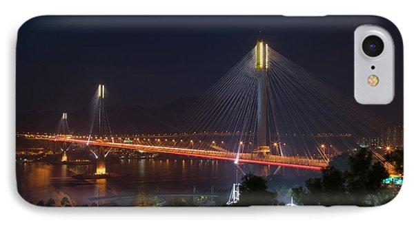 Bridge Lit Up At Night, Ting Kau IPhone Case by Panoramic Images