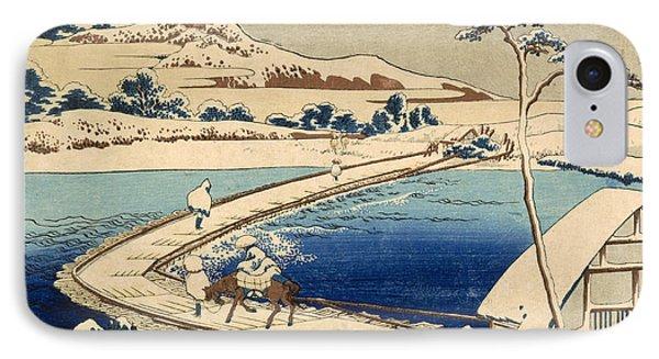 Bridge Of Boats At Sawa IPhone Case by Hokusai Katasushika