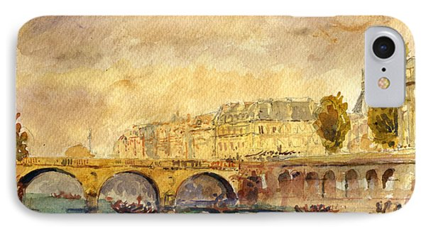 Bridge Over The Seine Paris. IPhone Case by Juan  Bosco
