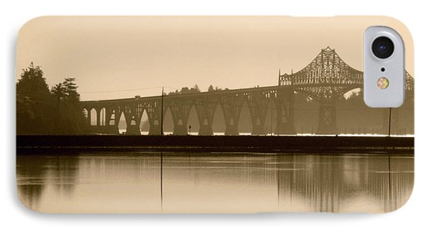 IPhone Case featuring the photograph Bridge Reflection In Sepia by Katie Wing Vigil
