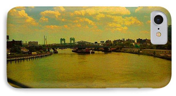 Bridge With Puffy Clouds IPhone Case by Miriam Danar