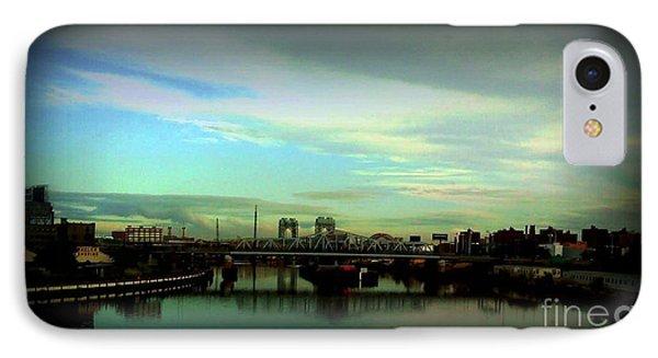 Bridge With White Clouds Vignette IPhone Case by Miriam Danar