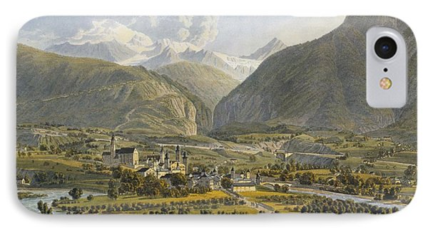 Brig On The Rhone, Bernese Alps IPhone Case by Swiss School