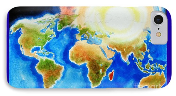 Bright Blue World Map In Watercolor With Sunshine And Moon  Phone Case by Kip DeVore