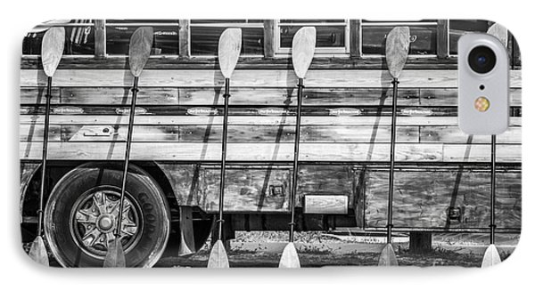 Bright Colored Paddles And Vintage Woodie Surf Bus - Florida - Black And White IPhone Case