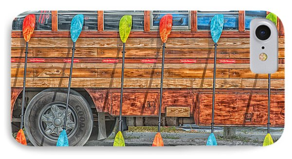 Bright Colored Paddles And Vintage Woodie Surf Bus - Florida - Hdr Style IPhone Case