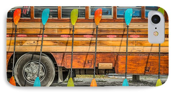 Bright Colored Paddles And Vintage Woodie Surf Bus - Florida IPhone Case