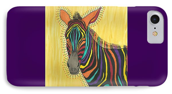 IPhone Case featuring the painting Bright Lite African Zebra  by Susie Weber
