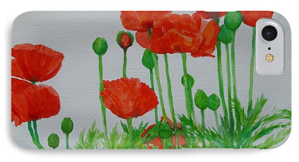Red Poppies Colorful Flowers Original Art Painting Floral Garden Decor Artist K Joann Russell IPhone Case