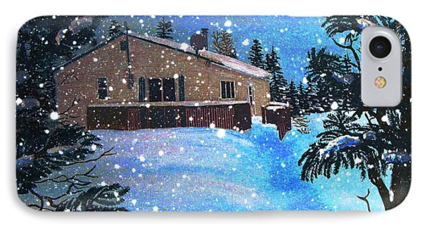 Bright Snowy Night At The Cabin IPhone Case by Barbara Griffin