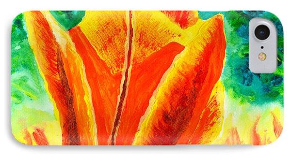 Bright Yellow Orange Tulip Acrylic Painting IPhone Case