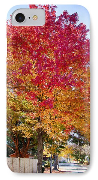 brilliant autumn colors on a Marblehead street IPhone Case by Jeff Folger