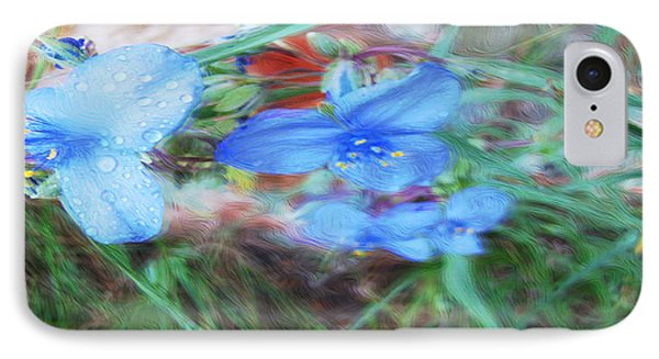 IPhone Case featuring the photograph Brilliant Blue Flowers by Cathy Anderson
