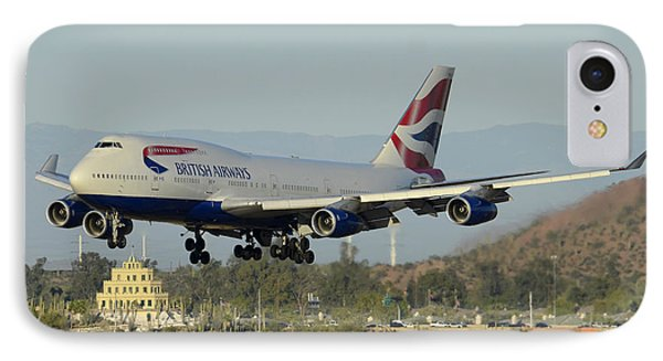 British Airways Boeing 747-436 G-bnlx Landing Phoenix Sky Harbor March 10 2015 IPhone Case