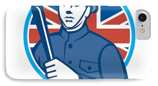British Bobby Policeman Truncheon Flag Phone Case by Aloysius Patrimonio