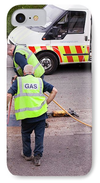 British Gas Workers Replacing Old Pipes IPhone Case by Ashley Cooper