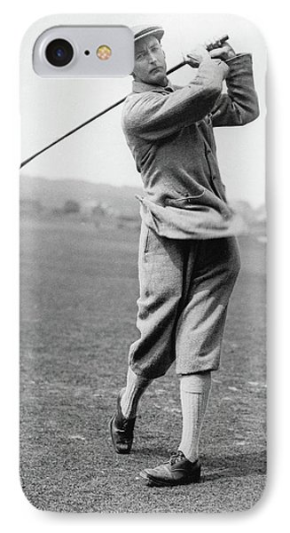 British Golfer Sir Ernest Holderness Swinging IPhone Case by Artist Unknown
