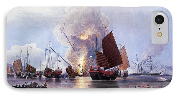 British Ships Destroying An Enemy Fleet In Canton IPhone Case by Anonymous