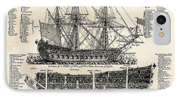 British Ships Of War  1728 IPhone Case by Daniel Hagerman