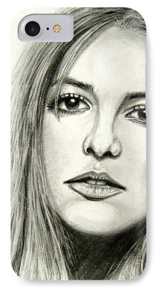 IPhone Case featuring the drawing Britney Spears by Patrice Torrillo