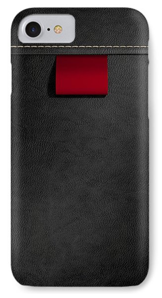 Broad Clothing Label In Black Leather IPhone Case by Allan Swart